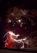 Volcanic lightning. Time_exposure image of lightning in and around a large ash column produced during the 2010 Eyjafjallajokull volcanic eruptions. Vo...