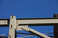 st. albert, alberta, canada, steel frame of a building under construction