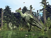 Lambeosaurus. Computer artwork of a male right, female left and juvenile middle Lambeosaurus near a river´s edge in what is now Montana, USA. Lambeosa...