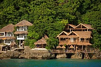 balabag, aklan, philippines, houses along the coast of boracay island