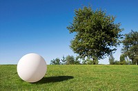 Sphere form and a tree in the gardens of Aiete Park, Donostia-San Sebastián, Guipúzcoa, Basque Country, Spain