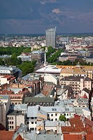 Latvia, Riga, Old Riga, Vecriga, elevated view from St  Peter´s Lutheran Church balcony