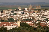 AERIAL VIEW OF THE TOWN OF EVORA, ALENTEJO, PORTUGAL
