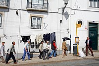 JAPANESE TOURISTS IN THE ALFAMA DISTRICT, LISBON, PORTUGAL, EUROPE