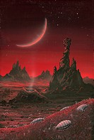Alien planet. Artwork of arthropod_like animals on an arid alien planet.