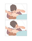 Artificial respiration. Artwork showing how to perform artificial respiration, or mouth to mouth resuscitation. Before the artificial respiration can ...