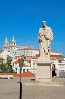 Lisbon, Sao Vicente de Fora statue and Sao Vicente de Fora church from Largo das Portas do Sol viewpoint, Alfama district, Portugal, Europe.