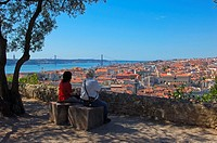 Lisbon, Tejo River and 25th Abril Bridge, View from St George´s Castle, Portugal, Europe.