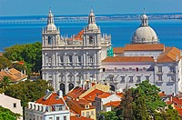 Lisbon, Sao Vicente de Fora church and Tejo river at background, Alfama district, Portugal, Europe