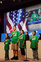 Boston, Massachusetts - Children lead the Pledge of Allegiance at the convention of the public employees union AFSCME