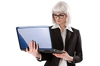 Young businesswoman using a laptop being held in arm