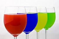 Four Glasses containing different color