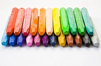 Crayons in two rows