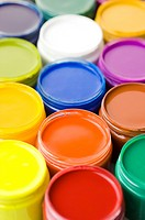 Jars of Paint in different color, full frame