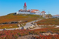 Cabo da Roca  Lighthouse at Cape da Roca  Lisbon district  Sintra coast  Portugal  Europe.