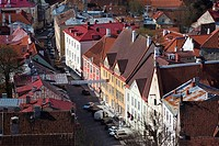 Estonia, Tallinn, Old Town, elevated view of Lai Street from St  Olaf's Church Tower