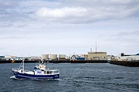 Faxi sea-angling boat approaching the harbour  Reykjavik Iceland