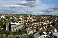 Hemel Hempstead suburb on a sunny early autumn afternoon, Hertfordshire, UK
