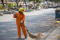 Street Sweeping, Ho chi Minh City, Vietnam