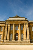 The South facade of Blenheim Palace in autumn sunshine  Looking up at the main doorway