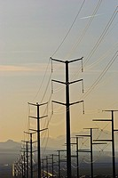 High Voltage Electricity Transmission Lines in Nevada Desert