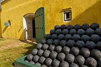 Cannonballs outside ammunition storage room, Fort Christiansvaern, Christiansted National Historic Site, St Croix, US Virgin Islands
