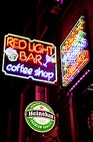 Cofee shop and bar sign in red light district, Amsterdam