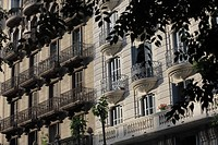 Exterior of a building with windows and balconies
