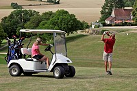 GOLF CART AND GOLFERS, GOLF DU PERCHE GOLF COURSE, SOUANCE_AU_PERCHE, EURE_ET_LOIR 28, FRANCE