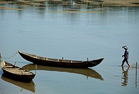 Asia, South Vietnam, Mekong Delta,boat with fisherman