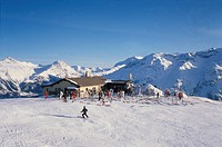 Europe, Switzerland, Saint Moritz the Corviglia ski slopes                                                                                            ...