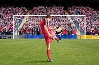 Football scoring a goal