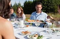 People having meal at table in a field
