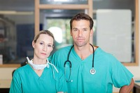 Two surgeons looking serious
