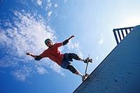 Skateboarder in action ...