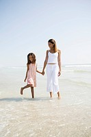 Mother playing on the beach with daughter