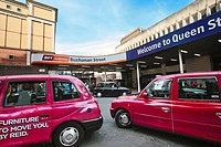 Queen Street Station with taxis, Glasgow, Scotland