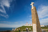 Monument in Cape Da Roca, the most westerly point in the continental Europa, and their lighthouse  Sintra Cascais Natural Park, Lisboa District  Portu...