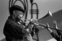 DIZZY GELLESPIE plays his trumpet at the MONTEREY JAZZ FESTIVAL _ MONTEREY, CALIFORNIA