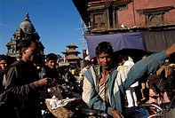 Nepal, Patan. Durbar square and people