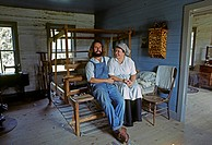 PIONEER COUPLE in historic FARMHOUSE in OLD WORLD WISCONSIN _ WISCONSIN