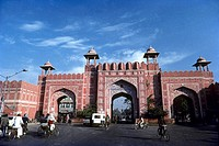 Ajmeri gate in Jaipur, Rajasthan, India. Jaipur city is surrounded by thick wall 20 feet high and 9 feet wide with eight gates.