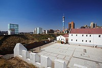 Old Fort in Constitution Hill with Telkom Tower in background, Johannesburg, Gauteng, South Africa
