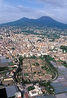 Italy, Campania, Ercolano, aerial view of the Ruins and the Vesuvio