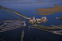 Italy, Venetian lagoon, aerial view of fish farm