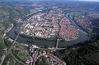 France, Midi_Pyrénées, Cahors, bridge aerial view
