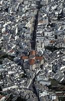 Italy, Apulia, Alberobello village, aerial view