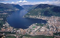 Italy, Lombardy, Como aerial view of the city and lake