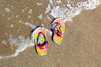 flip-flops on sandy beach, Sutherland, Scotland