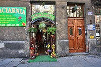 Flower shop in an old tenement house, Kazimierz, Krakow, Poland